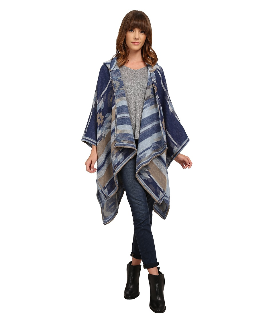 BCBGeneration - Winter Tribal Hooded Wrap (Navy Sea) Women's Clothing