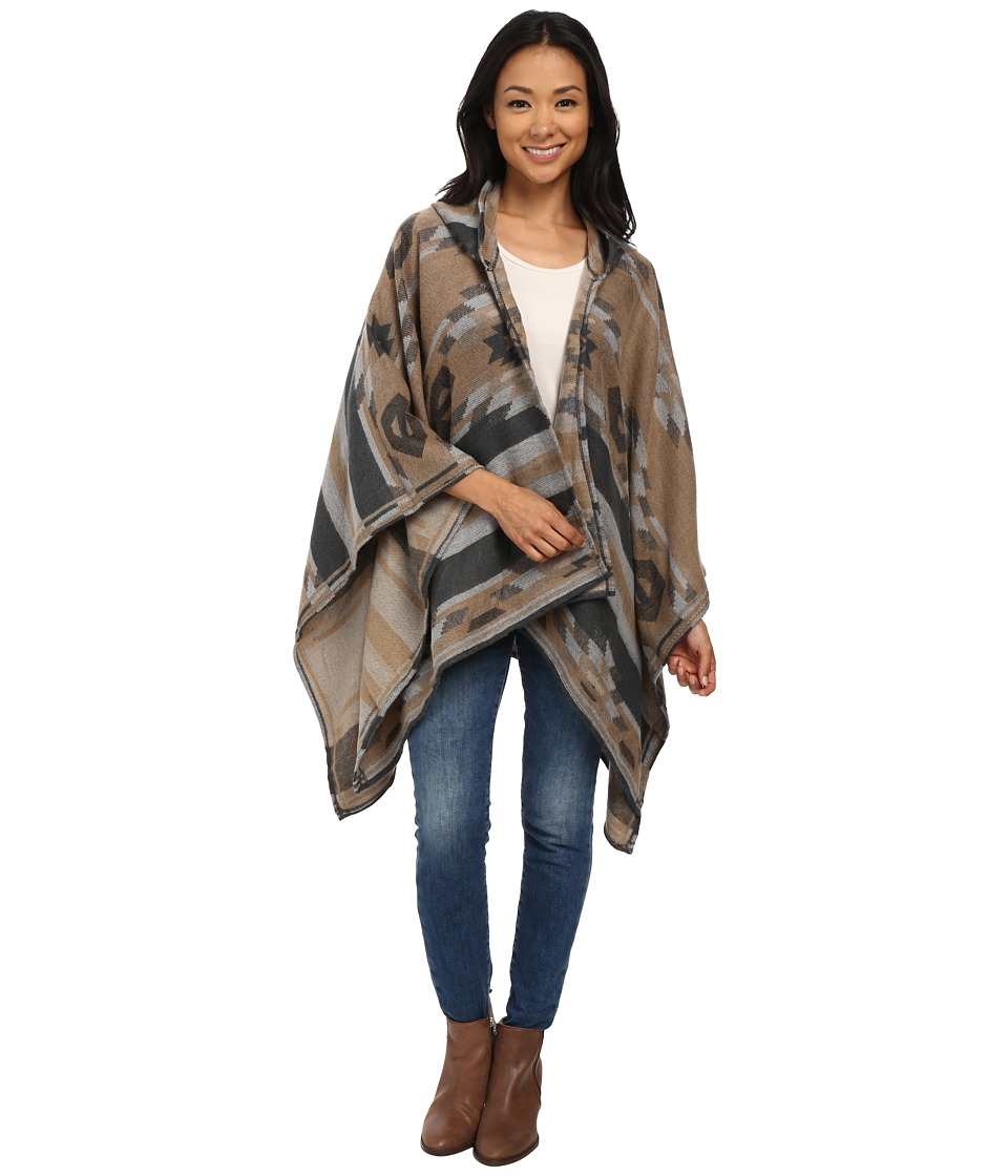 BCBGeneration - Winter Tribal Hooded Wrap (Latte) Women's Clothing