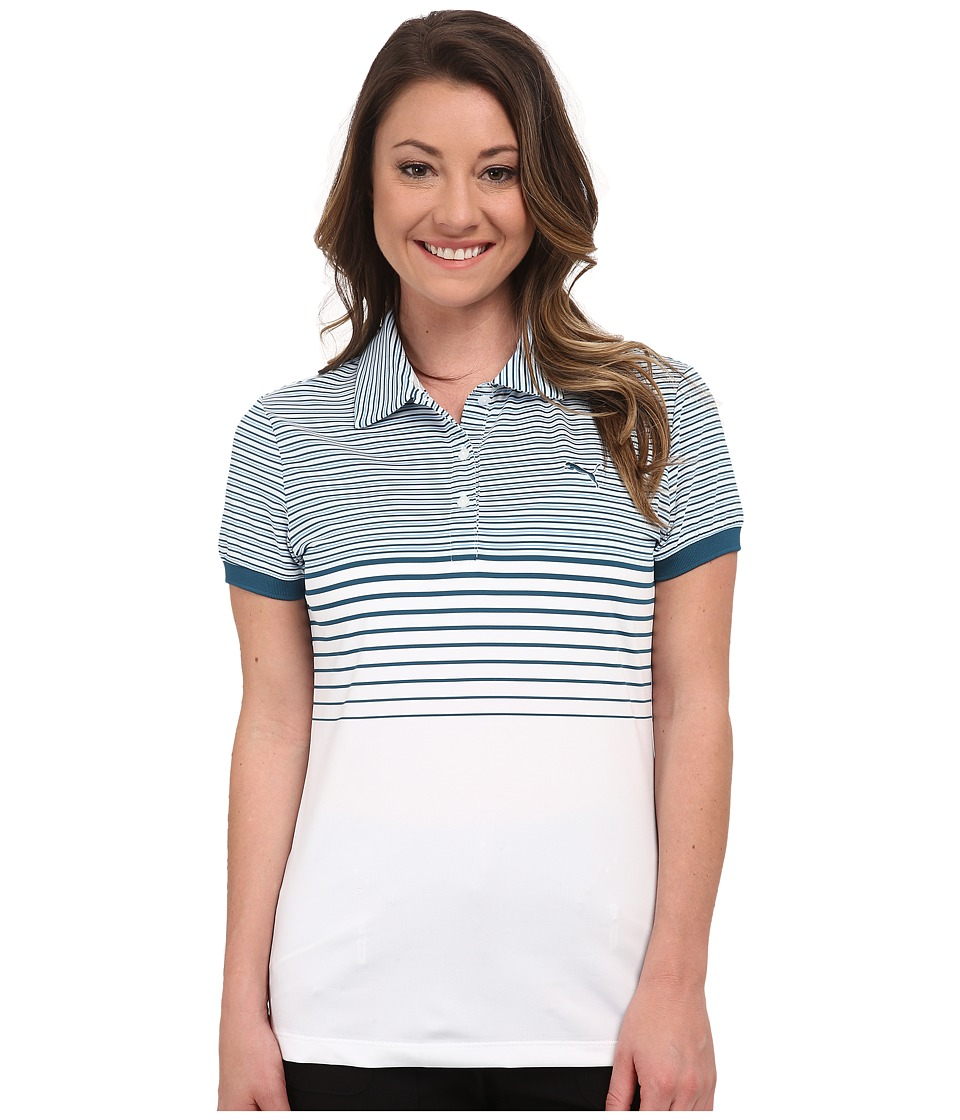 PUMA Golf - Double Stripe Polo (Bue Coral) Women's Short Sleeve Knit
