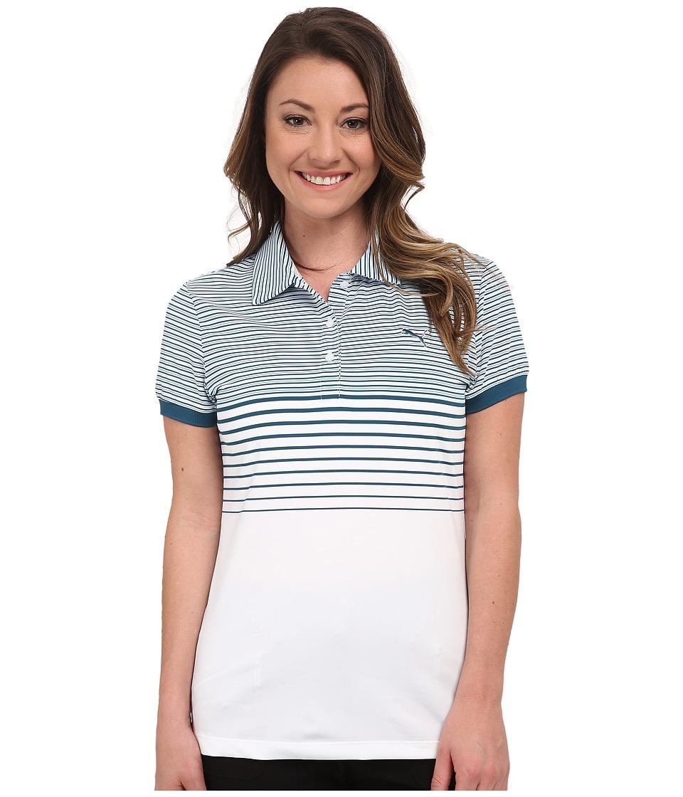 PUMA Golf - Double Stripe Polo (Bue Coral) Women's Short Sleeve Knit