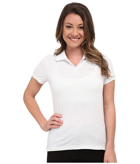 PUMA Golf - Mesh Stripe Polo (White) Women's Short Sleeve Knit