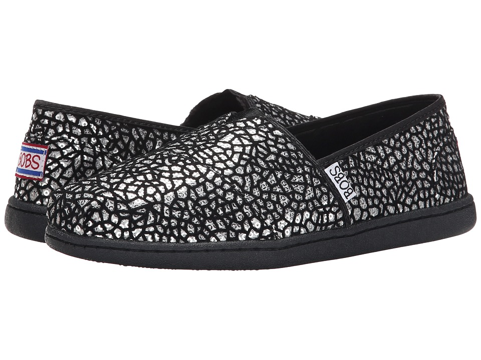 BOBS from SKECHERS - Bobs Bliss - Extra Extra (Black/Silver) Women's Flat Shoes