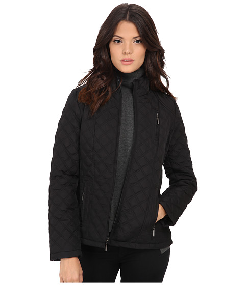 Weatherproof - Quilted Jacket w/ Side Rouching (Black) Women's Coat