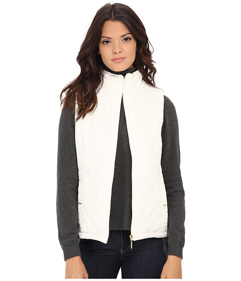 Weatherproof - Quilted Vest w/ Faux Fur Lining (Off White) Women's Vest