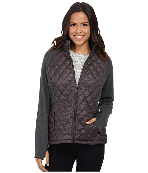 Weatherproof - Quilted Yoga Stretch w/ Mini Print (Grey) Women's Coat
