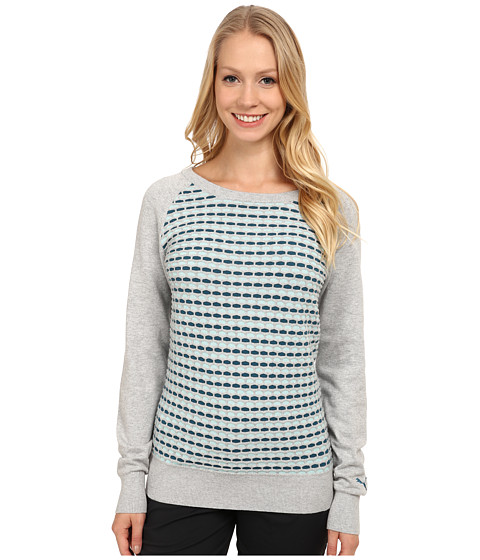 PUMA Golf - PWRWarm Color Block Sweater (Light Grey Heather) Women