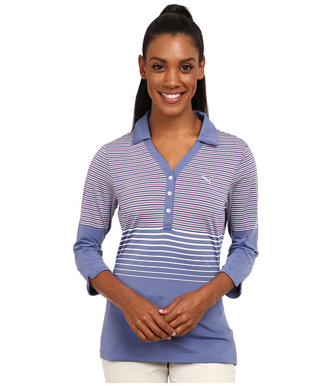 PUMA Golf - Three Quarter Sleeve Polo (Bleached Denim) Women's Short Sleeve Knit