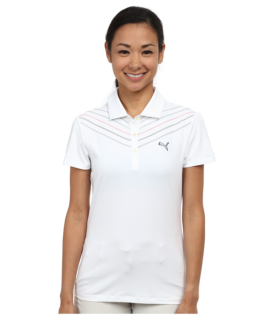 PUMA Golf - Chevron Polo (White) Women's Short Sleeve Knit