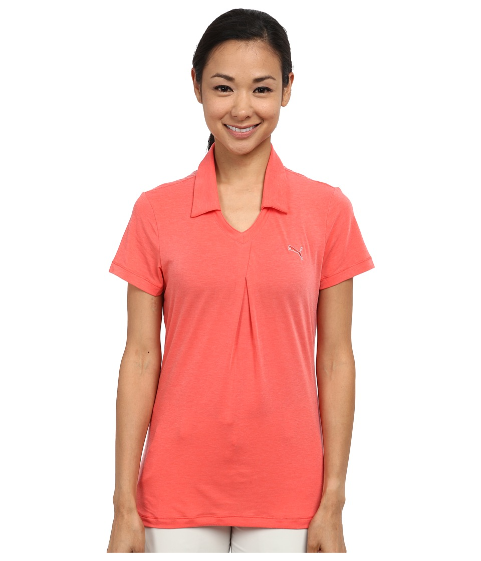 PUMA Golf - Pleat Polo (Cayenne Heather) Women's Short Sleeve Knit
