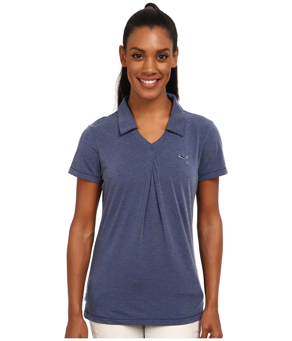 PUMA Golf - Pleat Polo (Medieval Blue Heather) Women's Short Sleeve Knit