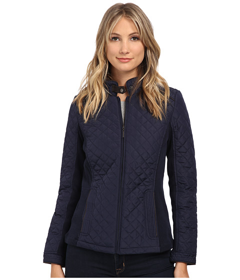 Weatherproof - Quilted Jacket w/ Side Knit Panels (Dark Denim) Women's Coat