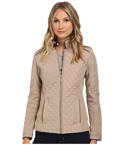 Weatherproof - Quilted Jacket w/ Side Knit Panels (Flax) Women's Coat
