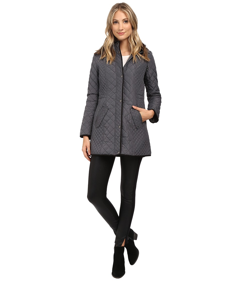 Weatherproof - Hooded Quilted Walker (Graphite) Women's Coat