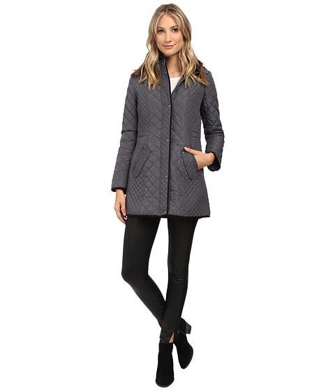 Weatherproof - Hooded Quilted Walker (Graphite) Women