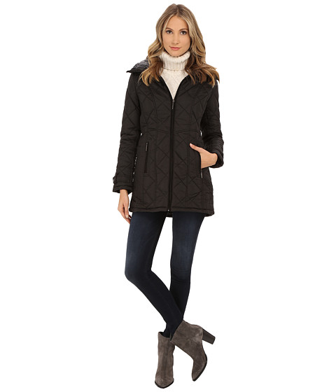 Weatherproof - City Jacket Walker w/ Luxe Faux Fur Lining (Black) Women's Coat