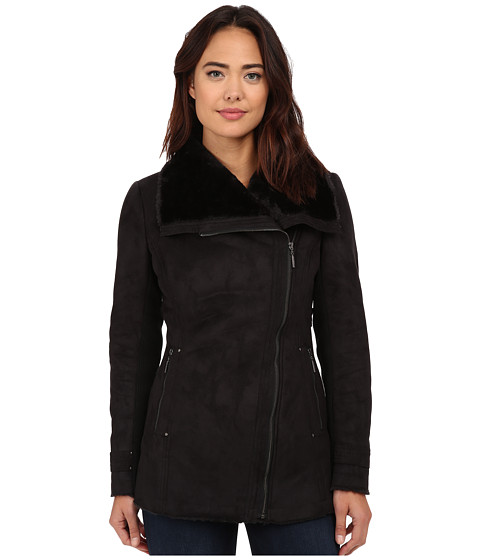 Weatherproof - Faux Shearling Asymmetrical Jacket (Black) Women's Coat