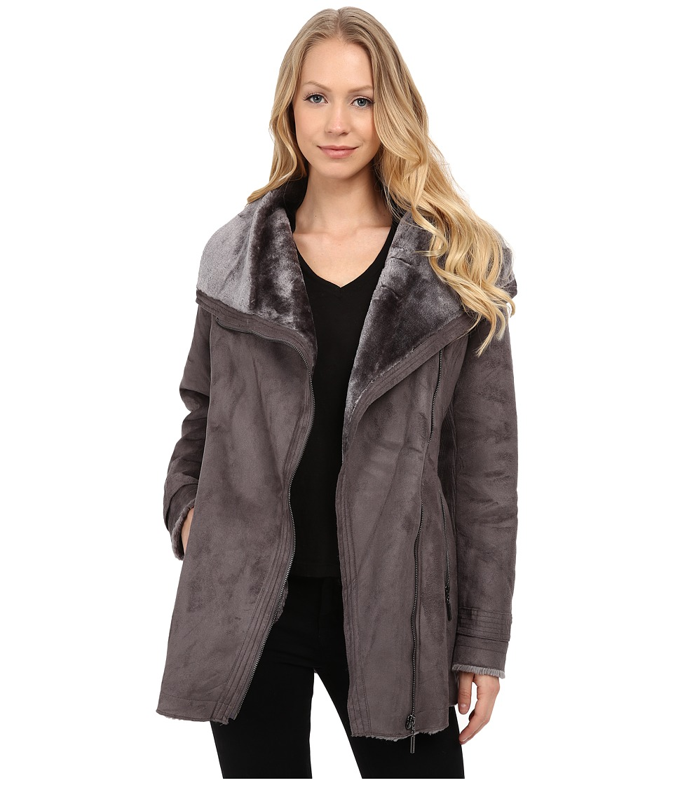 Weatherproof - Faux Shearling Asymmetrical Jacket (Graphite) Women's Coat