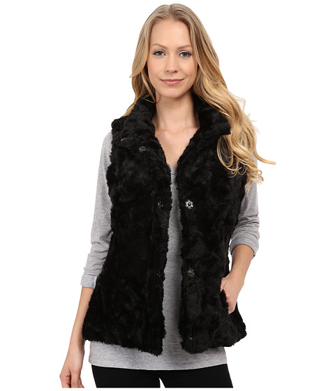 Weatherproof - Faux Fur Vest (Black) Women