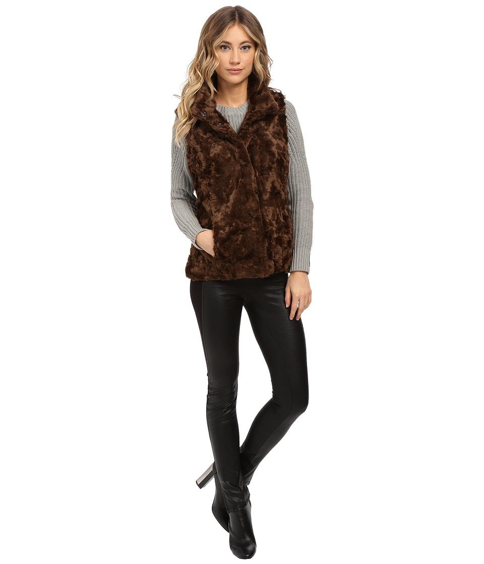 Weatherproof - Faux Fur Vest (Dark Brown) Women's Vest