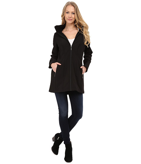 Weatherproof - Soft Shell Hooded Walker (Black) Women's Coat