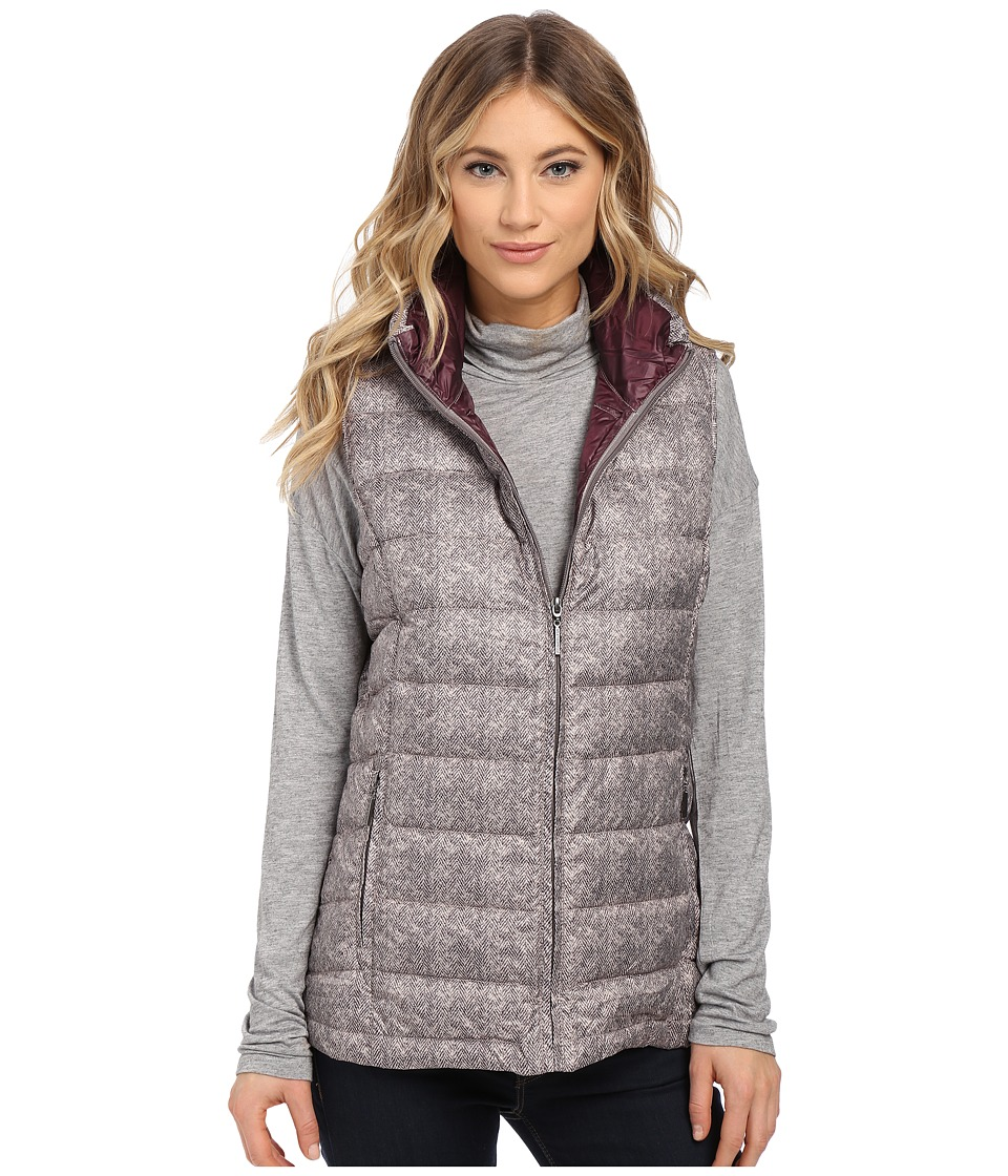 Weatherproof - Herringbone Printed Packable Down Vest (Grey Print) Women