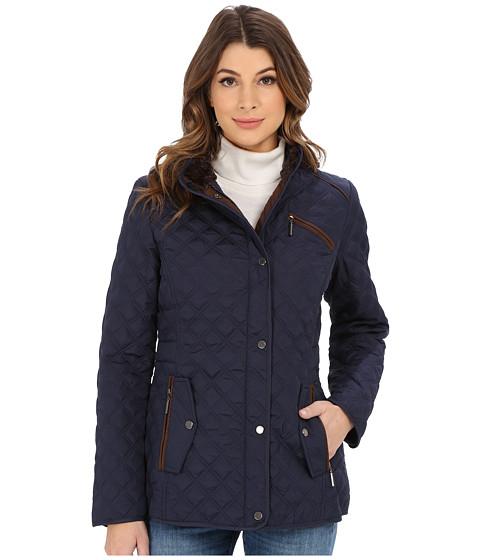 Weatherproof - Quilted Barn Jacket w/ Faux Fur Lining (Dark Denim) Women