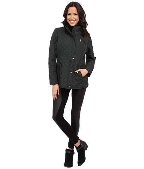 Weatherproof - Quilted Barn Jacket w/ Faux Fur Lining (Hunter) Women