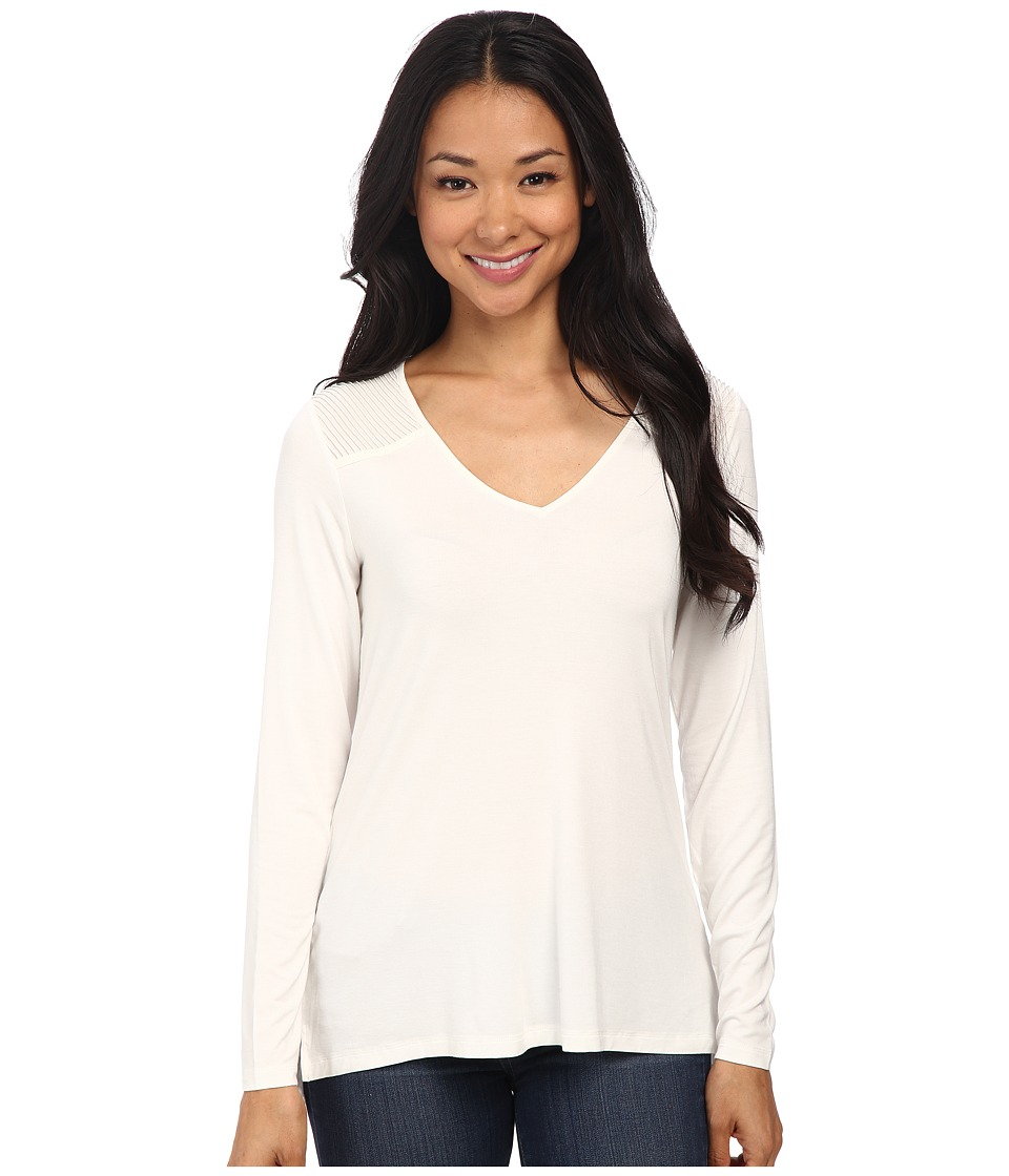 NYDJ - Pintuck Yoke Knit Top (Vanilla) Women's Clothing