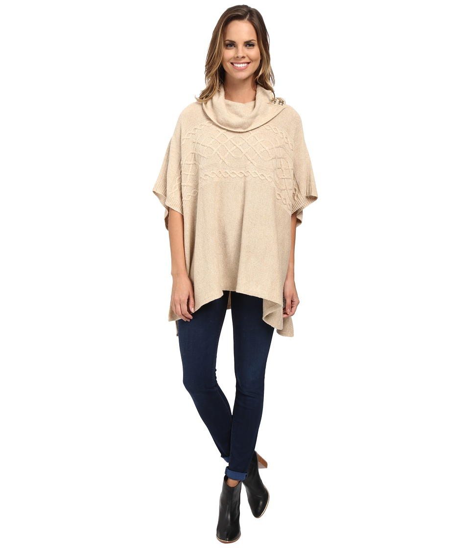 NYDJ - Cable Cowl Neck Poncho (Oatmeal Heather) Women's Coat
