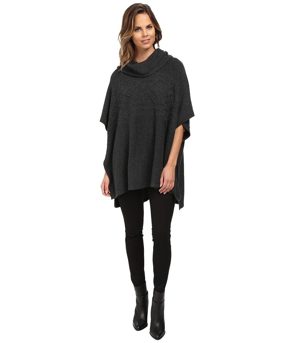 NYDJ - Cable Cowl Neck Poncho (Charcoal Heather) Women's Coat