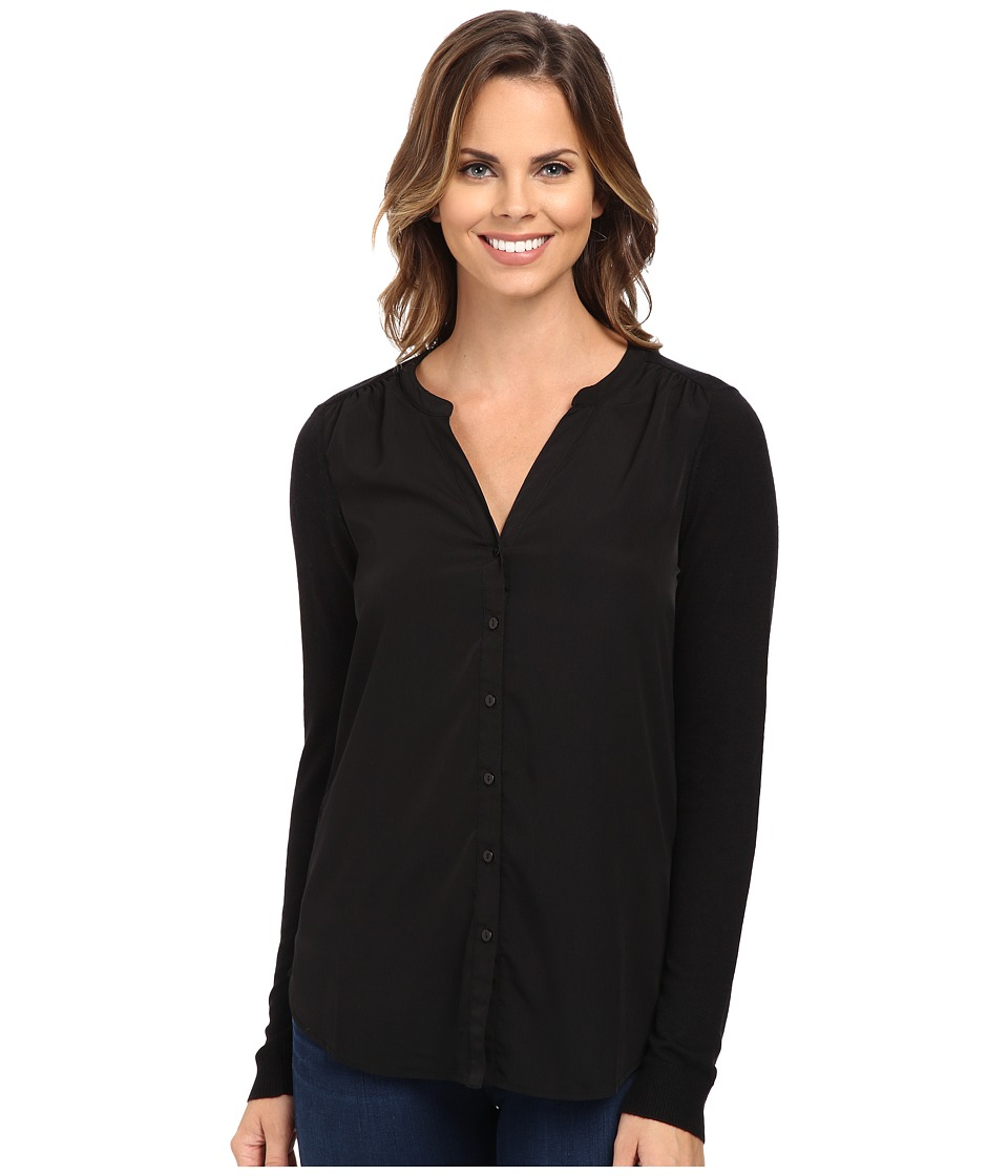 NYDJ - Woven Sweater Combo Cardigan (Black) Women's Sweater