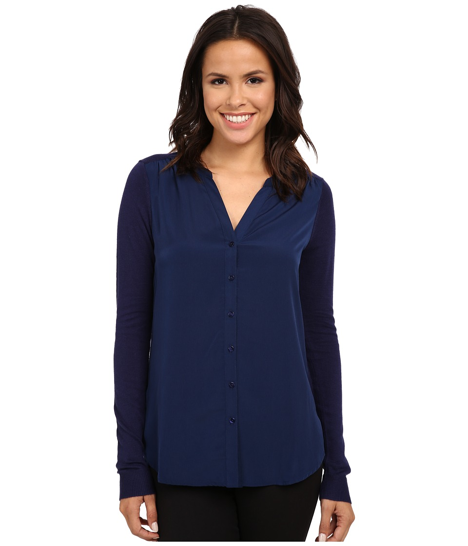 NYDJ - Woven Sweater Combo Cardigan (Knight Blue) Women's Sweater
