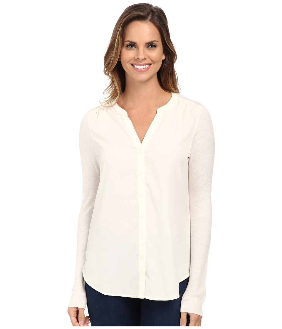 NYDJ - Woven Sweater Combo Cardigan (Vanilla) Women's Sweater