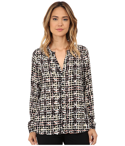 NYDJ - Overlayed Plaid Blouse (Black Multi) Women's Blouse