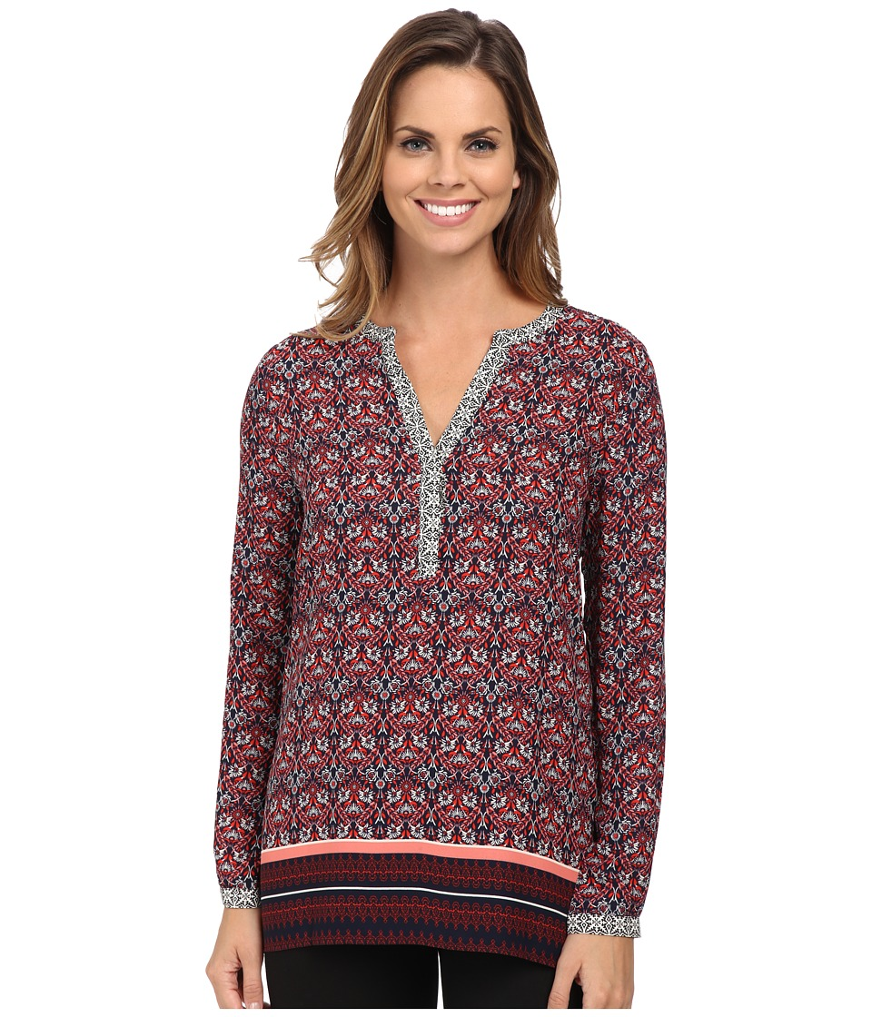 NYDJ - Scarf Print Tunic (Cardinal Red) Women's Blouse