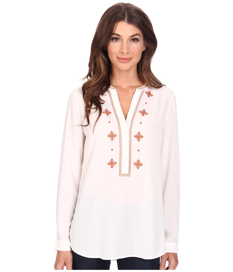 NYDJ - Embroidered Woven Blouse (Vanilla) Women's Blouse