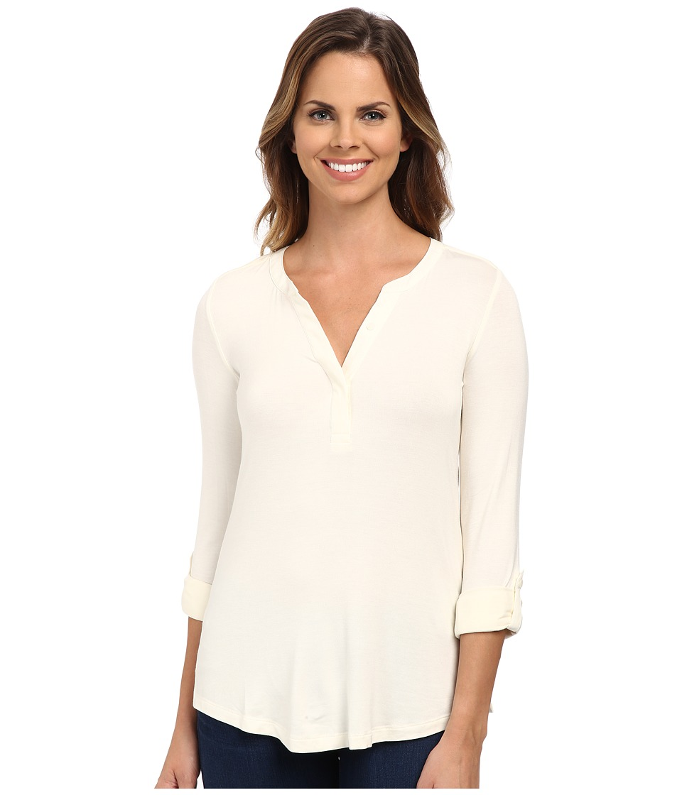 NYDJ - Pleat Back Knit Combo Top (Vanilla) Women