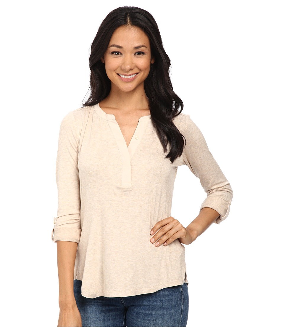 NYDJ - Pleat Back Knit Combo Top (Heather Oatmeal) Women's Clothing