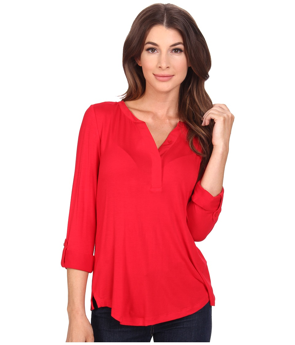 NYDJ - Pleat Back Knit Combo Top (Cardinal Red) Women's Clothing
