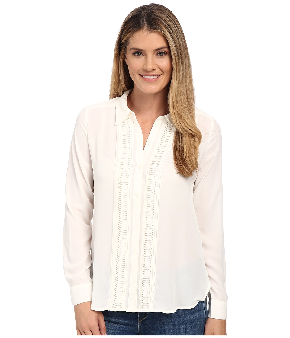 NYDJ - Pintuck Tuxedo Blouse (Vanilla) Women's Long Sleeve Button Up