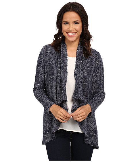 NYDJ - Novelty Boucle Cascade Knit Cardigan (Knight Blue) Women's Sweater