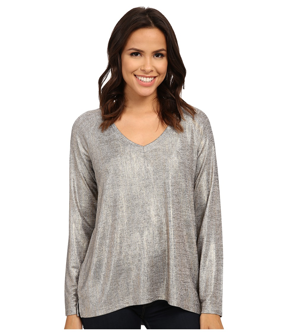 NYDJ - V-Neck Metallic Jersey Tee (Gold) Women's Clothing