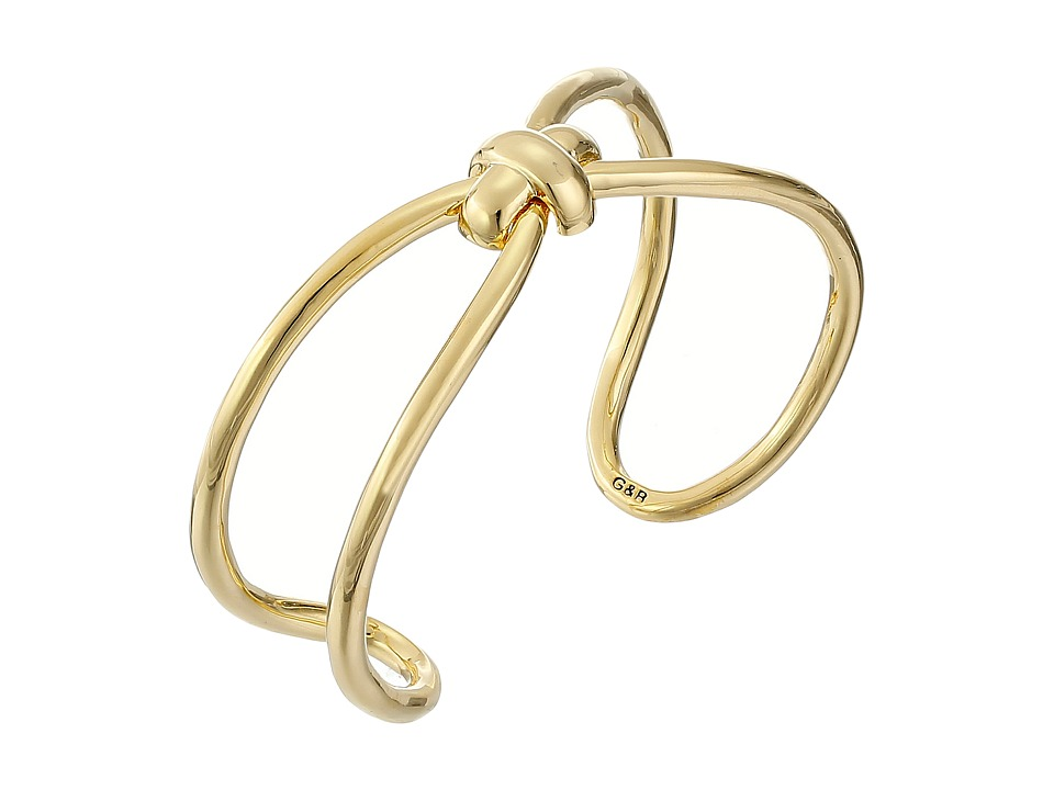 Giles & Brother - Skinny X Knot Cuff Bracelet (Gold Finished Brass) Bracelet