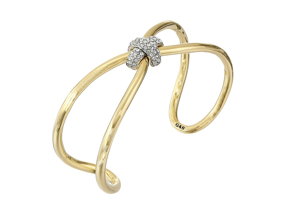Giles & Brother - Skinny X Knot Pave Cuff Bracelet (Gold Finished Brass) Bracelet