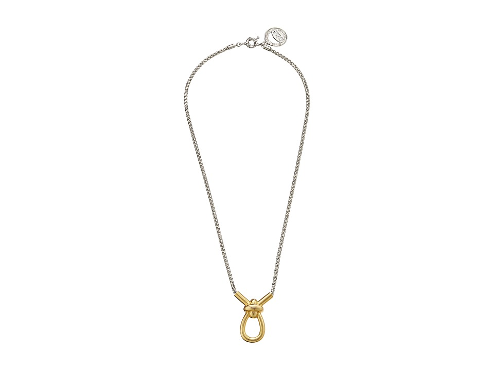 Giles & Brother - X Knot Pendant Necklace (Gold Finished Brass/Rhodium) Necklace
