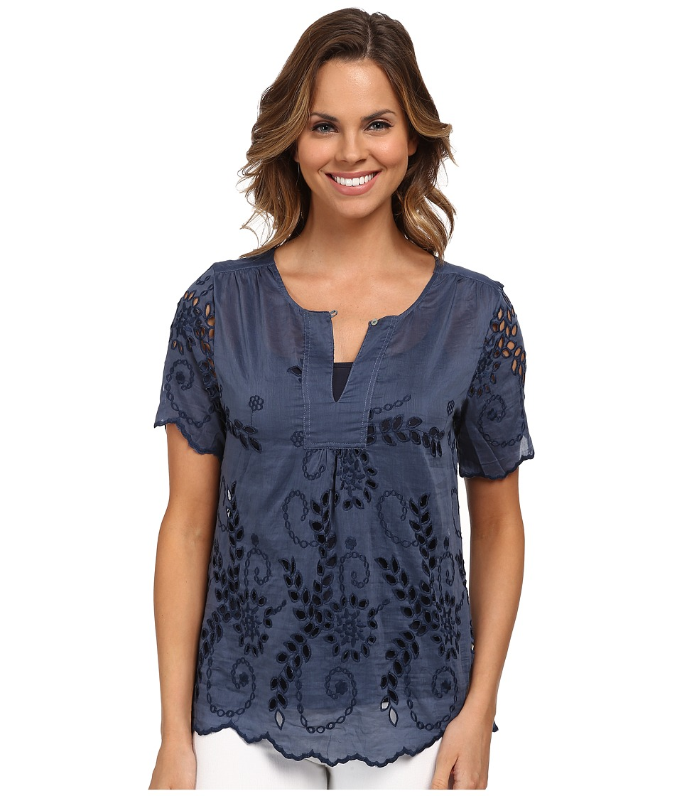Dylan by True Grit - Daydream Blouse Cotton and Silk Eyelet (Vintage Indigo) Women's Blouse