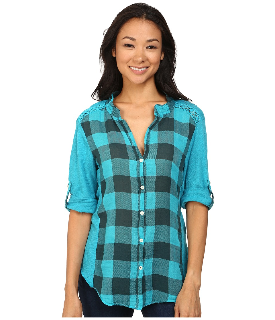 Dylan by True Grit - Vintage Buffalo Check Roll Sleeve Blouse (Vintage Aquamarine) Women's Blouse