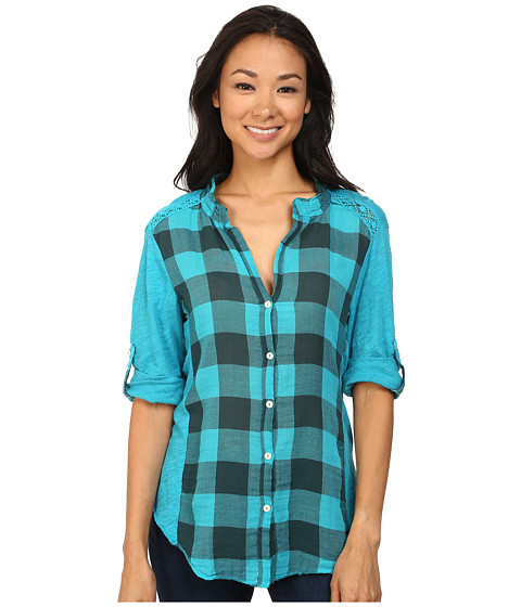 Dylan by True Grit - Vintage Buffalo Check Roll Sleeve Blouse (Vintage Aquamarine) Women