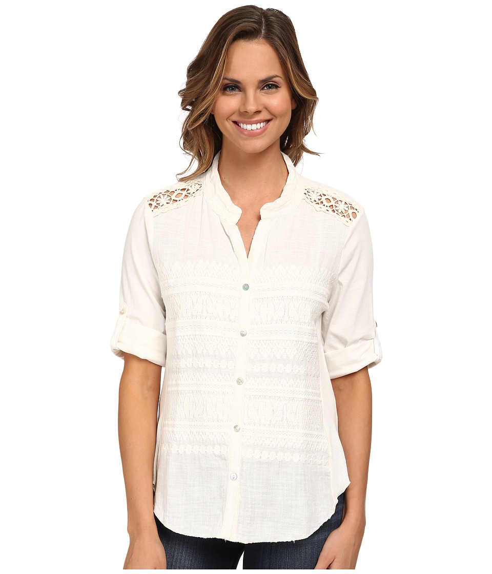 Dylan by True Grit - Malibu Ranch 3/4 Sleeve Blouse with Knit Panel (Malibu White) Women's Blouse