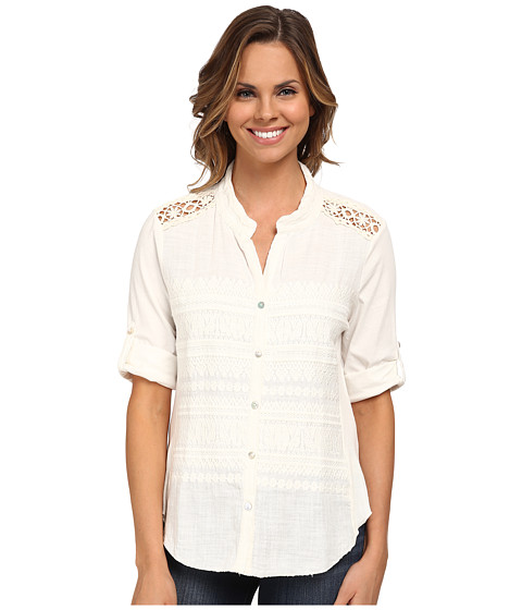 Dylan by True Grit - Malibu Ranch 3/4 Sleeve Blouse with Knit Panel (Malibu White) Women